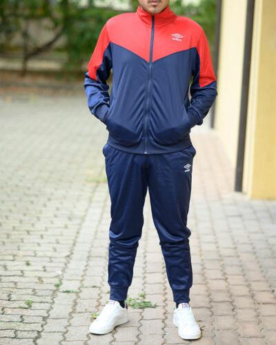 Umbro Tuta Sportiva Sport Tracksuit Blu Rosso Essential FZ Poly