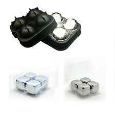 Deal 4 Stainless Steel Whiskey Whisky Stone Ice Cubes 4 Ball Silicone Mold Maker