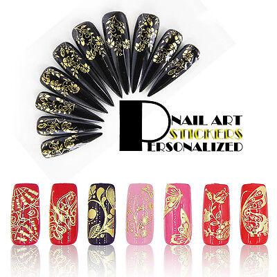 Nail Art Stickers Designs 3D Nail Decals 108PCS In One Sheet DIY For Nail Polish