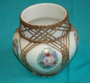 Thomas-Porzellan-SELTENE-Vase-mit-Korbmontierung-Blumenvase