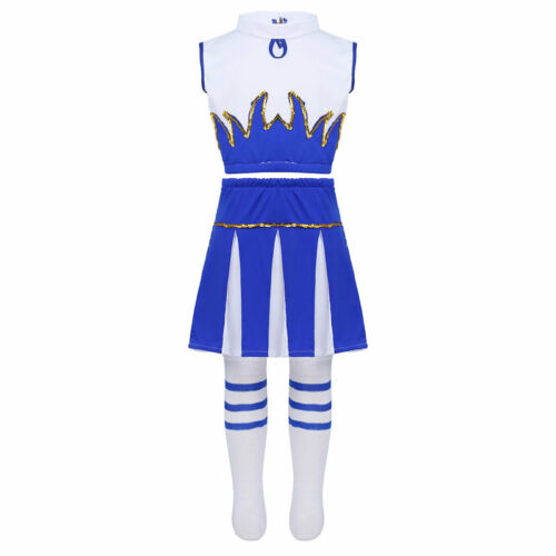 Kids Girls Cheerleader Outfit Sleeveless Dancewear Sets Carnival Party Costumes