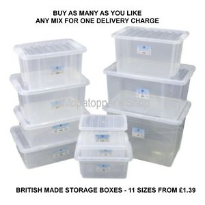 Image is loading NEW-British-Made-Clear-Plastic-Storage-Box-Boxes-  sc 1 st  eBay & NEW British Made Clear Plastic Storage Box Boxes With Lids SIZE ...