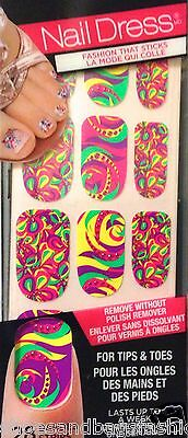Kiss Nails Stick on NAIL DRESS Premiere Party Applique Strips  Bright Swirls