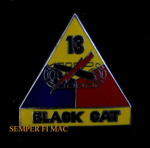 13TH ARMORED DIVISION BLACK CAT LAPEL HAT PIN US ARMY VETERAN GIFT WW 2 TANK WOW