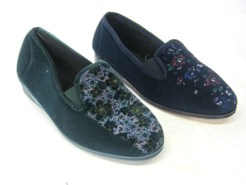 LADIES LADYLOVE TEXTILE FLORAL FRONT SLIPPER SHOE ELASTICATED SIDES /'RACHAEL/'