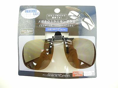 Daiso Japan Clip on Flip up Sunglasses Brown Lens Big Size 100% UV
