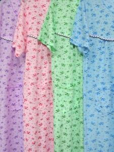 "SOFT 100/%COTTON RIBBED JERSEY COTTON NIGHTDRESS 43/""LENGTH NIGHTWEAR *4 STYLES*"
