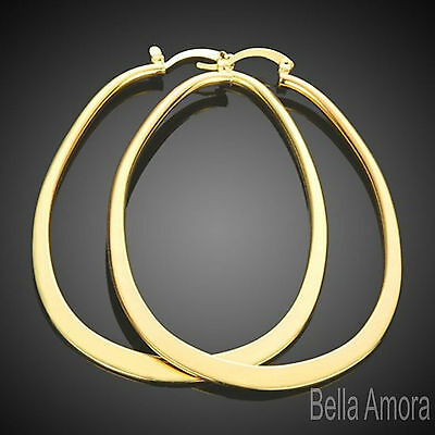 9ct Yellow Gold Filled Large Long Oval Flat Hoop Earrings Drop 70mm Uk 78