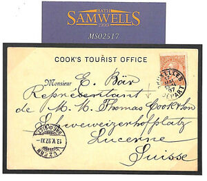 MS2517 1897 Belgium THOMAS COOK *Tourist Office* Stationery Card Switzerland