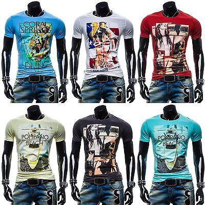 BOLF Glo-Story T-Shirt Aufdruck Motiv Kurzarm Freizeithemd Hemd MIX 3C3 Print