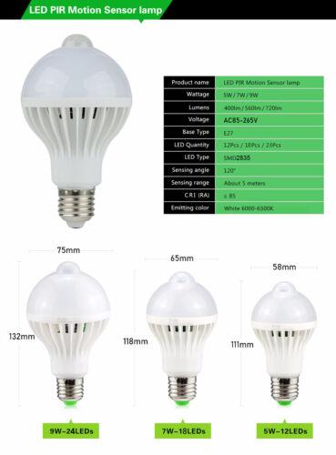 LED PIR Motion Sensor Bulb Sound Sensor Bulbs 3W 5W 7W 9W 12W Stairs Night Light
