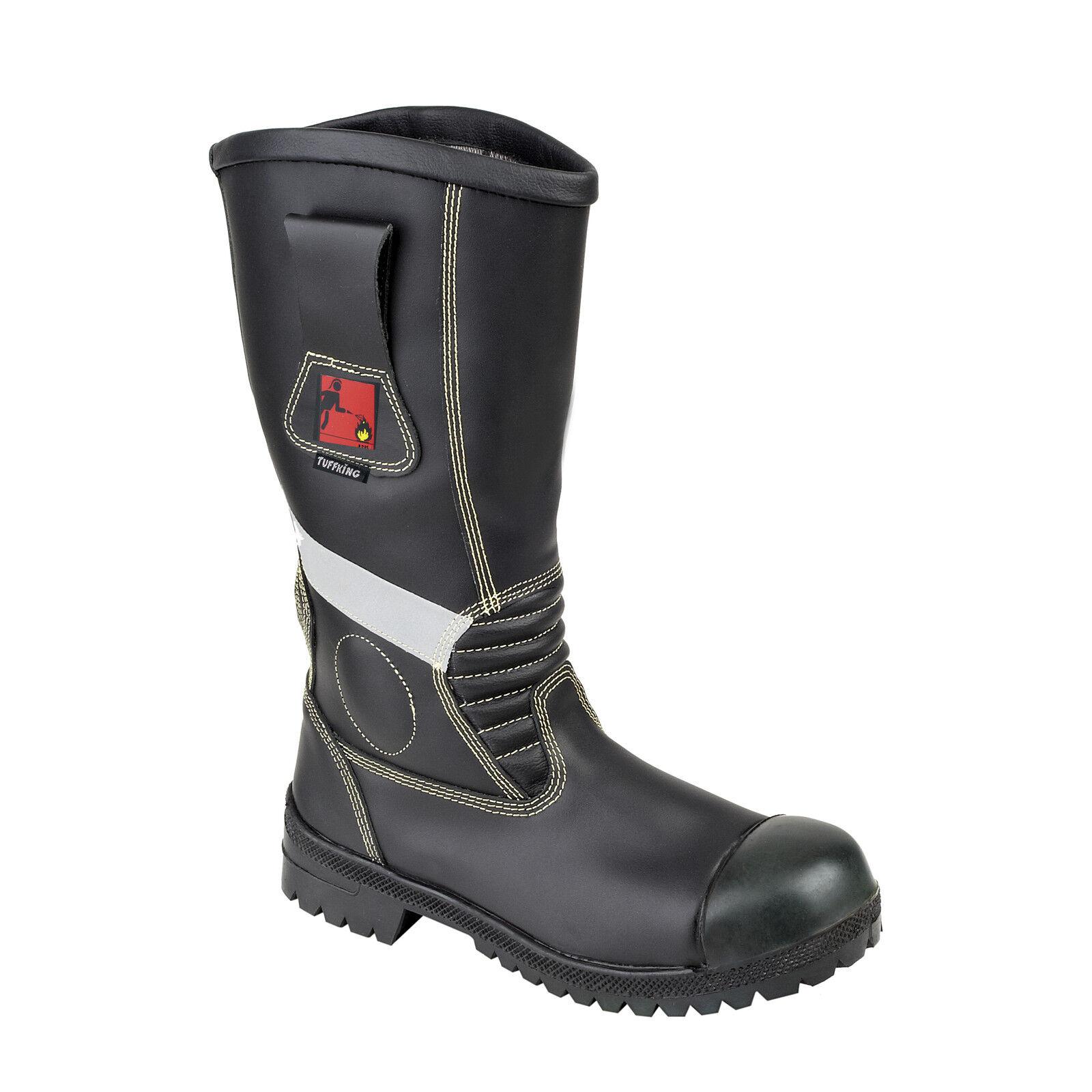 Tuffking 3105 Para Hombre Bomberos Fireman Flexible Negro botas De Seguridad F2a en15090