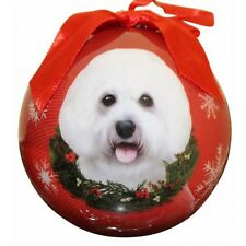 Bichon Frise Christmas Ornament Wreath Red Shatter Proof Ball Dog Snowflakes