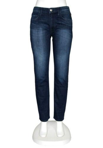 Replay Jeans Jacksy Straight Slim High Rise Blue Used Stretch Denim Hose L30