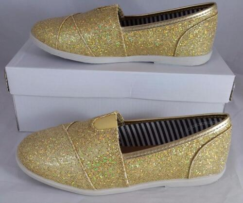 Soda Object IIAS Girls Youth Gold Glitter Slip on Flat Shoes