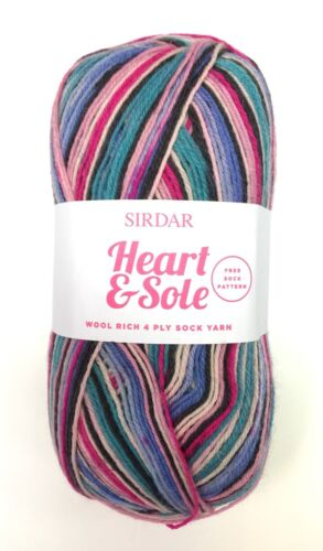 SIRDAR Heart /& Sole Wool Rich 4 Ply Sock Yarn Color 165