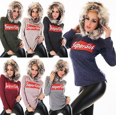 Selbstbewusst, Befangen, Gehemmt, Unsicher, Verlegen Damen Pullover Sweater Pulli Shirt Hoodie Webpelz Kapuze Kunstfell Super Girl
