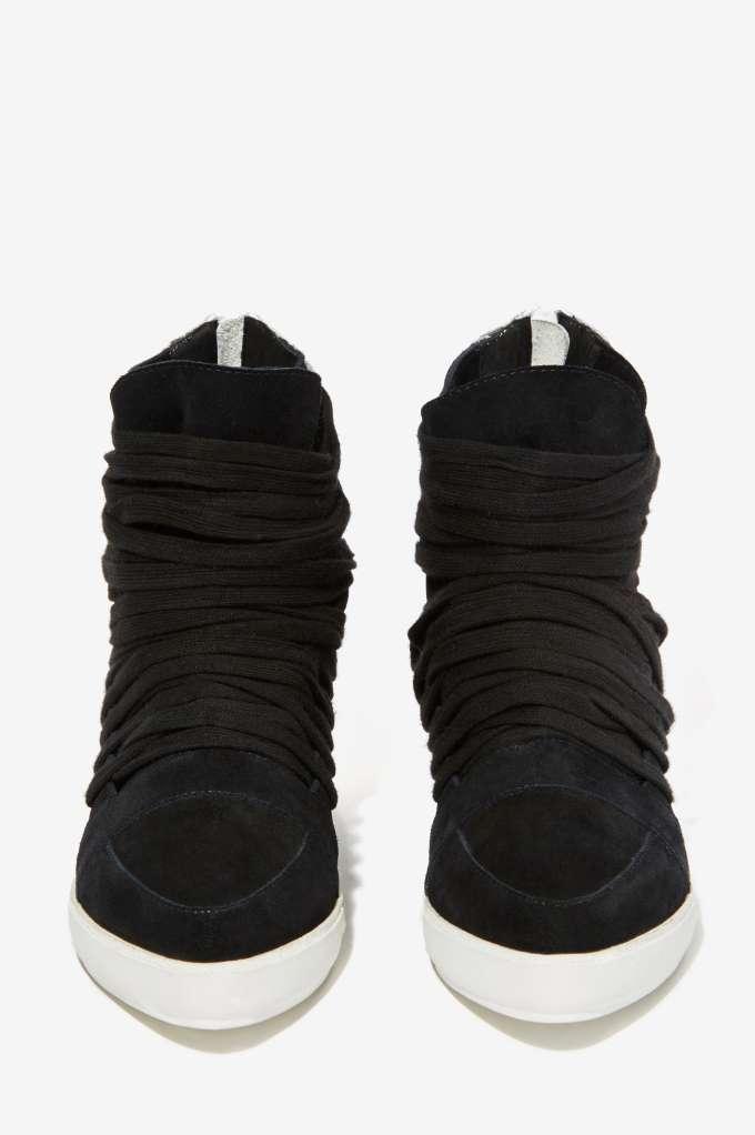 NEW JEFFREY CAMPBELL 170 BLACK & WEISS ENORA SUEDE SNEAKERS Schuhe SZ 5.5