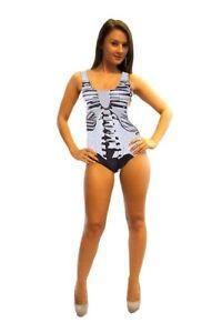 531d2016a675 Women s Unique Skeleton Ribcage Bones Print Swimsuits Bodysuit ...