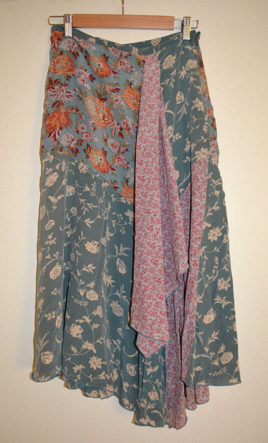 4 Anthropologie Asymmetrical Patchwork Floral Silk Scarf Skirt Extremely Rare