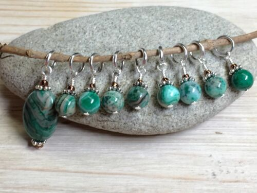 SNAG FREE Handmade Knitting Stitch Marker Set Green Agate