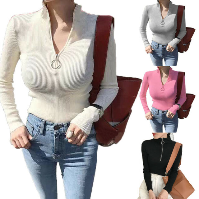 New Women Turtleneck Sweater Circular Zip Pullover Knitted Knitwear Tops Casual