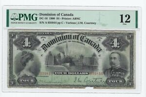 1900 Dominion of Canada $4,Var/Cou #A 034844  DC-16 PMG F-12