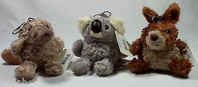 3 x Fluffy Aussie Pal Bag Tag 1 x Koala, Kangaroo & Platypus Korimco *LAST SET*