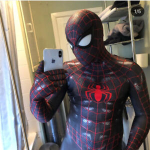 Black Venom Spider-Man Cosplay Costume Spiderman Muscle Zentai Suit Halloween Y1