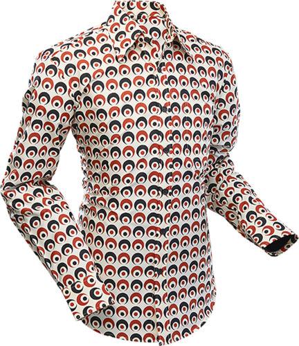 Chenaski Mens 60s 70s Creme Black Red Retro Eyeball Psychedelic Pop Art Shirt
