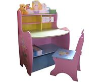 Kids Table And Chair Set Wooden Desk Bedroom Storage Shelves Childs Study School