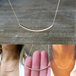 1ba03125df1 Fashion Smile Bar Simple Gold Silver Tube Pendant Chain Necklace ...