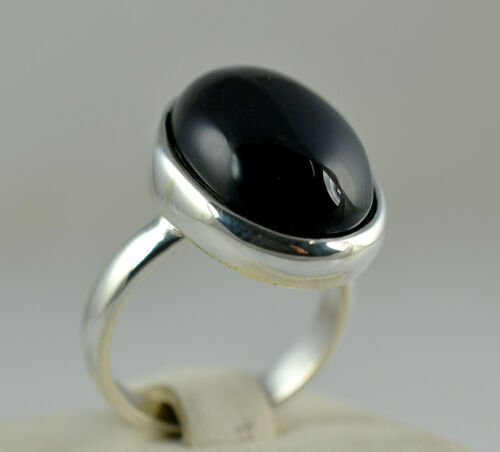 Black Onyx Oval Silver Ring 925 Solid Sterling Silver Handmade Jewelry
