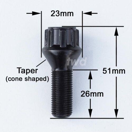RUOTA IN LEGA NERO 4x perni di bloccaggio per Saab 9-3//9-5 di sicurezza Lug Nuts Hbb