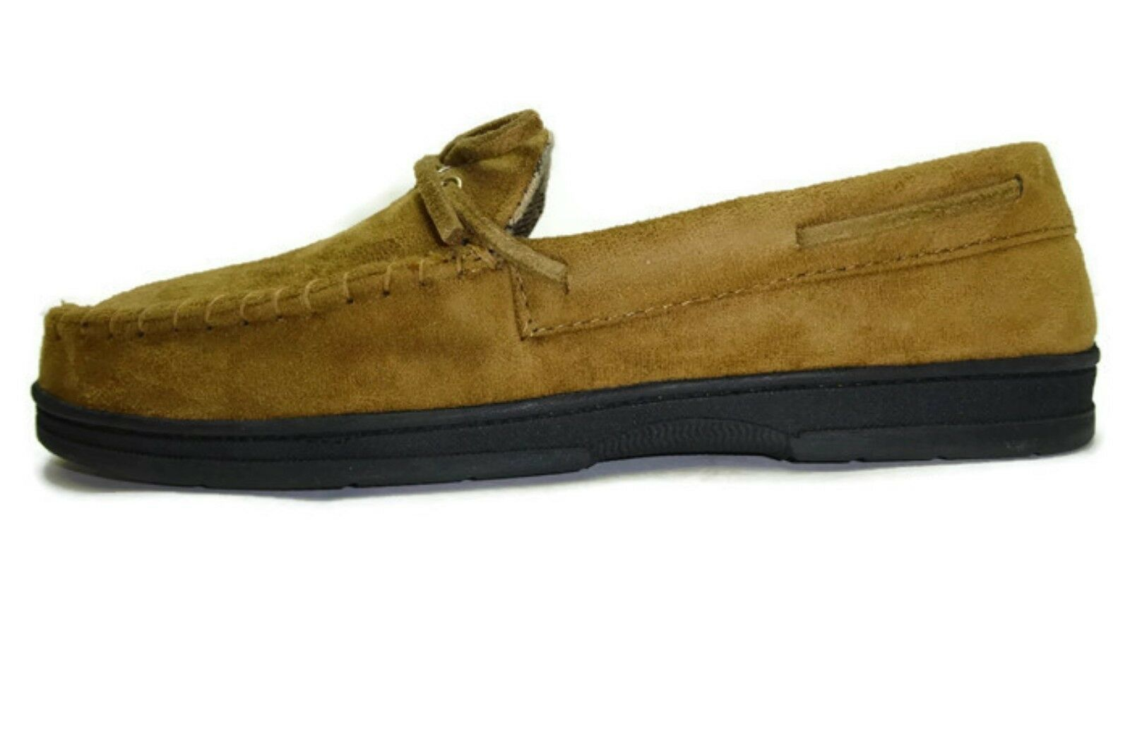 John Ashford Mens Ronald Microsuede Foam Cushion Moccasin Slippers TAN 11-12 XL