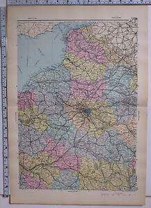 1891 Antik Landkarte ~ Frankreich North Central Paris Orleans Chartres Rouen La