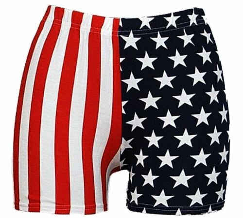 Womens  Ladies American Flag Leggings Stars And Stripes Cycling Shorts /& Shorts