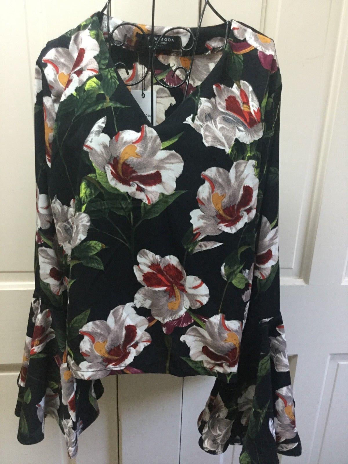 Few Moda Flutter Bell Sleeve Top Blouse Shirt Floral schwarz L NWT