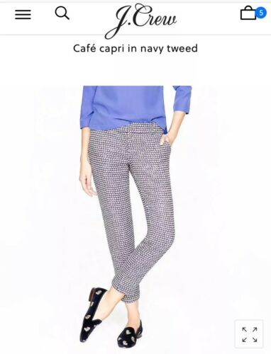 00 Capri Cafe Navy Jcrew Tweed Pants Nwot 8q6BRat
