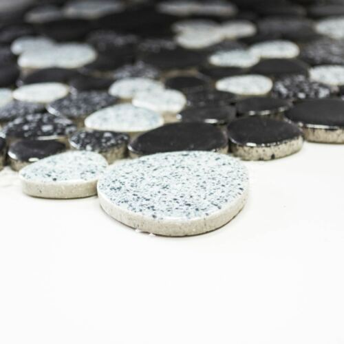 Mosaïque Carreau Céramique Caillou tacheté noir gris badfliese idée 12-0103/_b