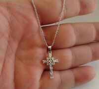 925 Sterling Silver Baguette Cross Pendant Necklace W/1.25 Ct Accents/18''chain