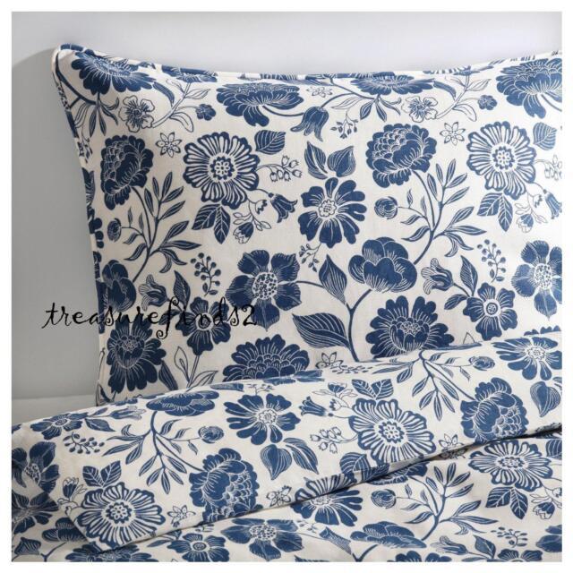 Ikea Angsort Linen King Duvet 3 Piece Set Blue White Fl
