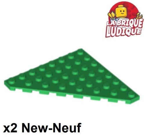 2x Aile Wedge plate 8x8 Cut Corner vert//green 30504 NEUF Lego