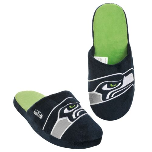 Seattle Seahawks Slippers Team Colors Big Logo NEW Two Toned House shoes BLG