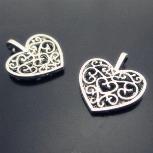 20pc retro Tibet silver pierced Heart Charm Pendant Bead accessories  PL035