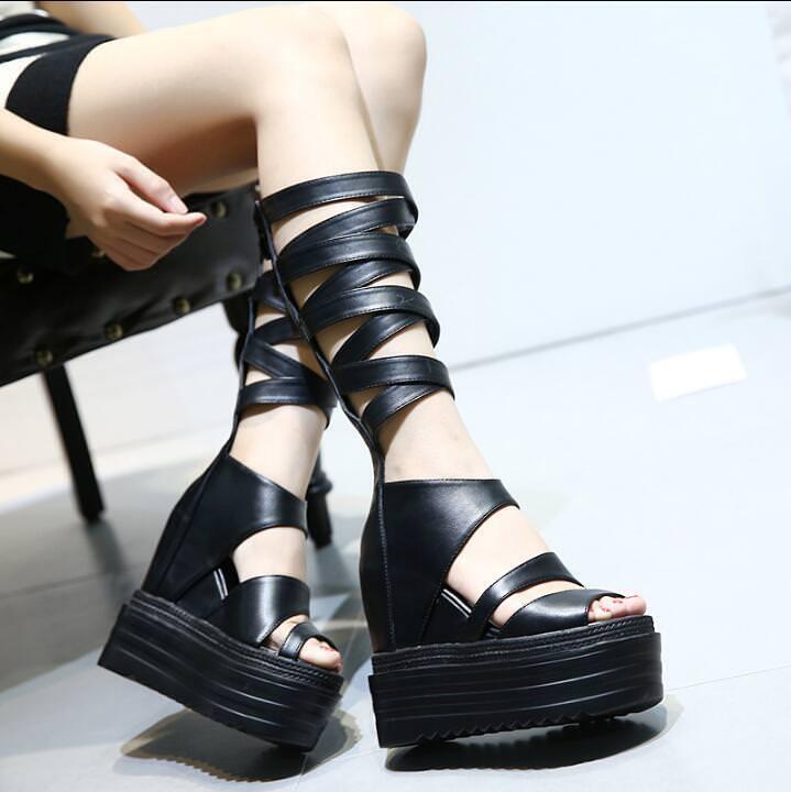 Mujer Gladiador correas del dedo del pie pie pie Abierto Damas Cuña Tacones Altos Sandalia de cremallera hasta la rodilla  colores increíbles