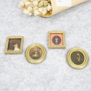 4x-set-Golden-Plastic-Photo-Frames-DIY-1-12-Miniature-Dollhouse-Furniture-Decor