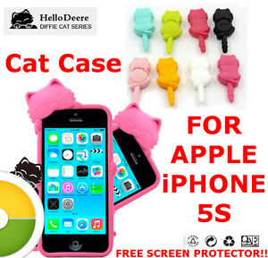 CUTE-CAT-CASE-COVER-For-IPHONE-5S-New-Silicone-case-High-Quality