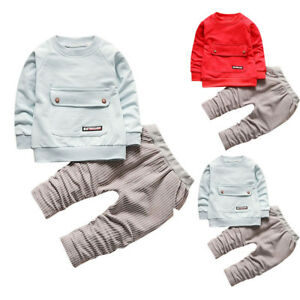 4adf167b7 1-4Y Newborn Baby Boys Girls Outfits T-shirt Tops+Stripe Long Pants ...
