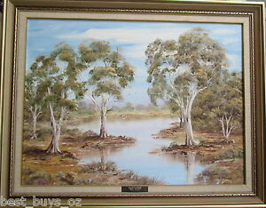 Nice-Oil-on-board-by-Roy-Pluck-034-Back-Waters-034-58cm-x44cm-843